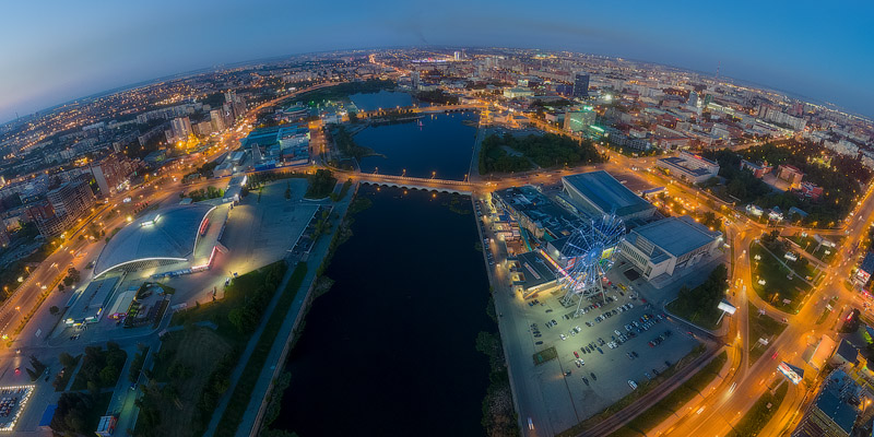 Evening Chelyabinsk, aerial panorama